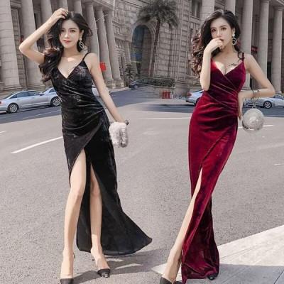 キャバ ドレス ロング シンプル 黒 赤 ベルベット シンプル きれいめ ロングドレス キャバ パーティードレス ロング ワンピース 無地 袖なし 結婚式 お呼ばれ ド