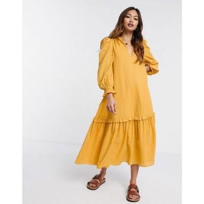 エイソス ASOS DESIGN レディース ワンピース ミドル丈 ワンピース・ドレス trapeze midi smock dress in textured dobby in mustard マスタード
