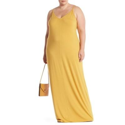アボンド レディース ワンピース トップス V-Neck Sleeveless Maxi Dress YELLOW SULPHUR