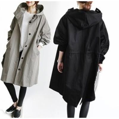 アウター スタンドカラーコート フード ミディアム丈 黒 グレー 大きいサイズ 秋冬 無地 長袖 10代 20代 30代 お出かけ デート 通勤 OL