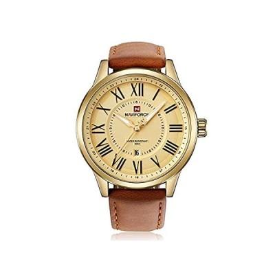 【新品・送料無料】NAVIFORCE オリジナル高品質メンズスポーツレザーストラップ日付腕時計 9126 ゴールドブラウンイエロー。