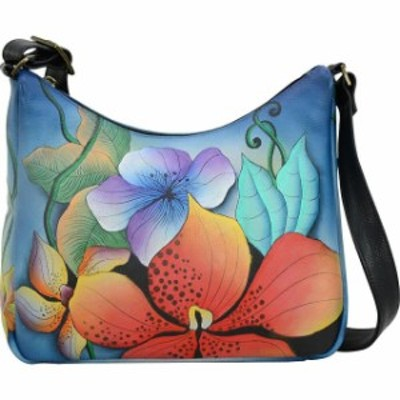 ANNA by Anuschka  ファッション バッグ ANNA by Anuschka Hand Painted Leather Medium Shoulder Hobo NEW