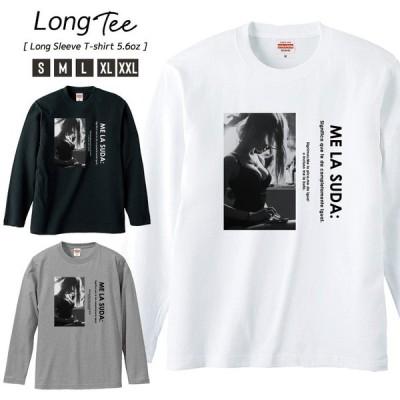 Tシャツ メンズ ロンT 長袖 ユニセックス クルーネック Uネック セクシー ガール 胸 下着 モノクロ ロゴ 英字 おしゃれ