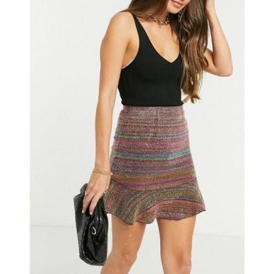 エイソス ASOS DESIGN レディース ミニスカート スカート Flippy Mini Skirt In Multi Boucle マルチカラー