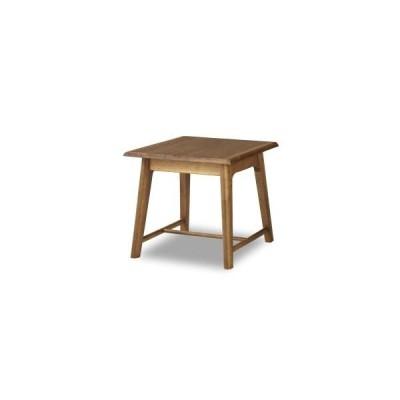 コーナーテーブル サイドテーブル リビングテーブル ラバーつどい 正方形 角型 60cm角 リビング ラバーウッド アンティーク ブラウン