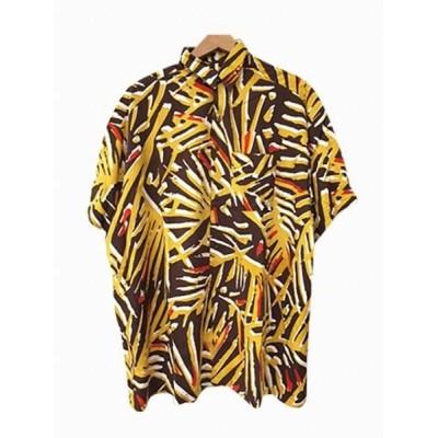 (CAYHANE/チャイハネ)【チャイハネ】yul モダン柄プリントMEN'Sシャツ IAC-0451/メンズ イエロー