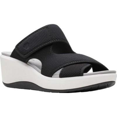 クラークス Clarks レディース サンダル・ミュール ウェッジソール シューズ・靴 Step Cali Reef Strappy Wedge Sandal Black Textile