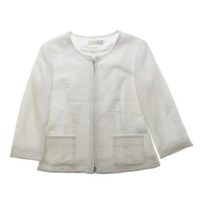 カーラ Cara コットン 七分袖 ノーカラー ジャケット アウター レディース ホワイト A03939