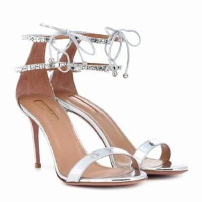 アクアズーラ サンダル・ミュール Crillon 85 metallic leather sandals Argento