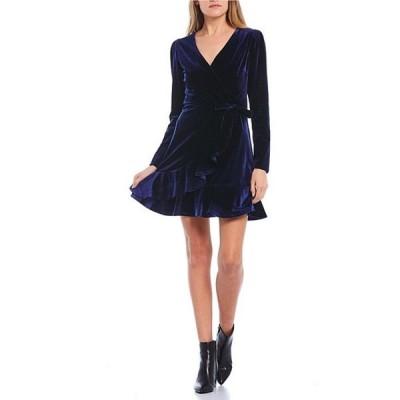 ティーズミー レディース ワンピース トップス Long-Sleeve Surplice V-Neck Velvet Faux-Wrap Dress