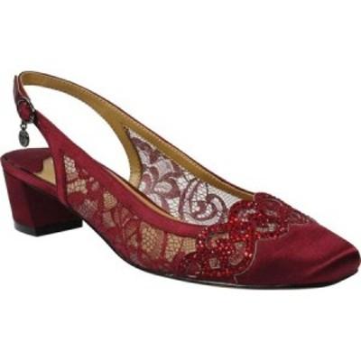 ジェイレニー J. Renee レディース ヒール シューズ・靴 Faleece Low Block Heel Slingback Burgundy Fabric