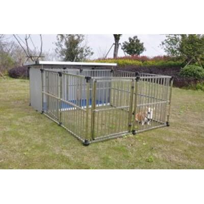 ステンレス製ドッグハウス DFS-M1 (0.5坪タイプ屋外用犬小屋)  +マルチサークルハウス DFS-C1中型犬  大型犬 【送料無料】