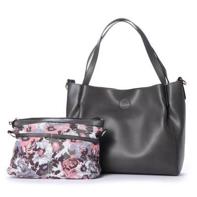 ヴィータフェリーチェ VitaFelice トートバッグ 2wayショルダーバッグ 花柄インナーバッグ付き(グレー)