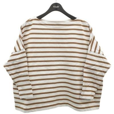 TRADITIONAL WEATHER WEAR ボーダーワイドカットソー バスクシャツ ベージュ×ホワイト サイズ:S (明石店) 210513