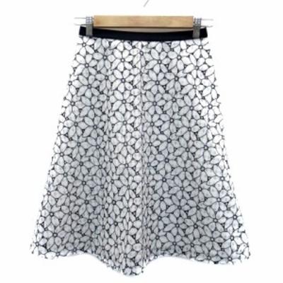【中古】エニィスィス エニシス anySiS スカート フレア ミモレ丈 花柄 2 白 ホワイト 紺 ネイビー /HO13 レディース