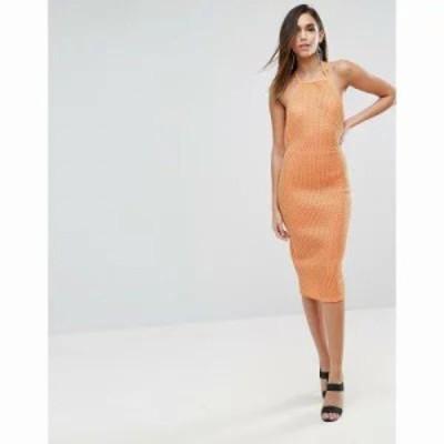 エイソス ワンピース ASOS Bonded Mesh Scuba Midi Bodycon Dress Orange