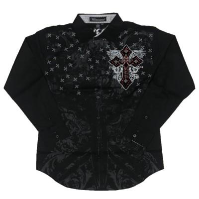 [並行輸入品] Victorious ビクトリアス スパンコール 刺繍 クロス 長袖 ドレスシャツ (ブラック)