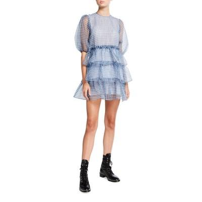 ガニー レディース ワンピース トップス Check Organza Puff-Sleeve Tiered Ruffle Mini Dress