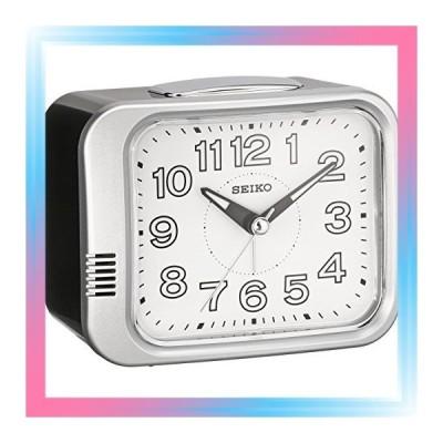 01:銀色メタリック セイコー クロック 目覚まし時計 アナログ 銀