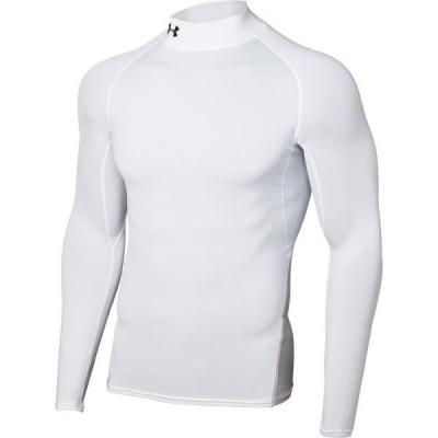 アンダーシャツ メンズ ロングTシャツ トップス メンズ UA HEATGEAR ARMOUR LS MOCK WHT/BLK/BLK  (UDR)