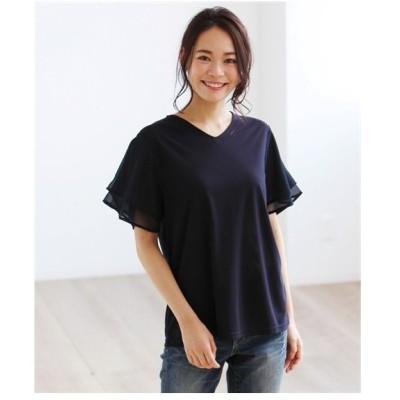 Tシャツ カットソー 大きいサイズ レディース 接触冷感袖シフォン  8L/10L ニッセン