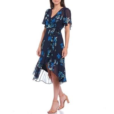 カルバンクライン レディース ワンピース トップス V-Neck Flutter Sleeve Floral Chiffon Hi-Low Midi Dress Indigo Multi