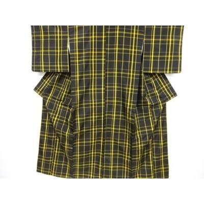宗sou 格子織り出し米沢紬着物【リサイクル】【着】