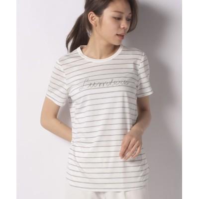 【レリアン】 刺しゅうロゴボーダーTシャツ レディース グレー系 9 Leilian
