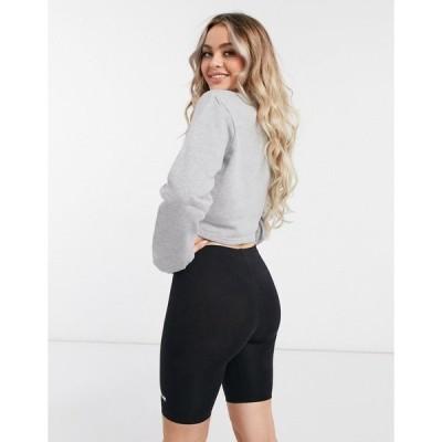 エレッセ レディース シャツ トップス ellesse cropped sweatshirt and legging short set in gray/black Gray