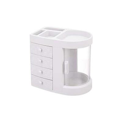 メイクボックス 大容量 コスメボックス 可愛い おしゃれ 化粧品 ボックス メイクケース 収納 スキンケア 小物入れ インテリア 防水(White)