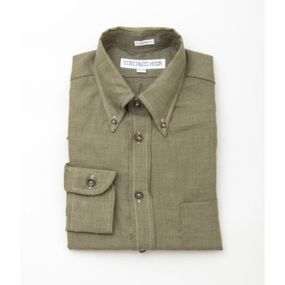 """【SALE対象商品】INDIVIDUALIZED SHIRTS """"LINEN STANDARD FIT BUTTON DOWN SHIRT""""(OLIVE)"""
