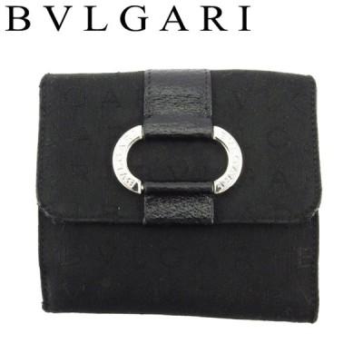 ブルガリ Wホック 財布 二つ折り ミニ財布 レディース メンズ ロゴマニア BVLGARI 中古