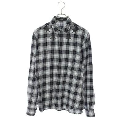 ジバンシィ GIVENCHY サイズ:37 スタープリントチェック長袖シャツ 中古 BS99