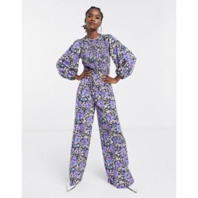 エイソス レディース ワンピース トップス ASOS DESIGN shirred long sleeve wide leg jumpsuit in floral print Floral
