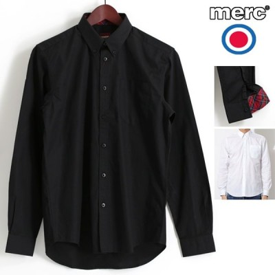 メルクロンドン Merc London 長袖シャツ レトロ ボタンダウン タータンチェックトリム ブラック ホワイト 2色 メンズ 長袖 シャツ モッズファッション ギフト