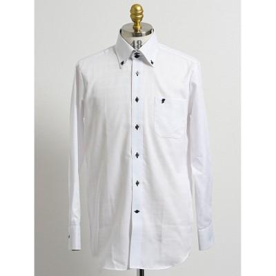 【タカキュー】 形態安定吸水速乾スリムフィット ドゥエボタンダウン長袖ビジネスドレスシャツワイシャツ メンズ ホワイト L:41-82 TAKA-Q