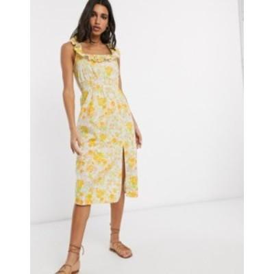 エイソス レディース ワンピース トップス ASOS DESIGN cotton midi sundress with shirred waist and lace up back in floral print Bri