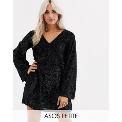 エイソス ミディドレス レディース ASOS DESIGN Petite tinsel smock mini dress with bell sleeves エイソス ASOS ブラック 黒