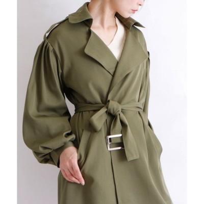 コート トレンチコート バルーン袖のベルト付きトレンチコート