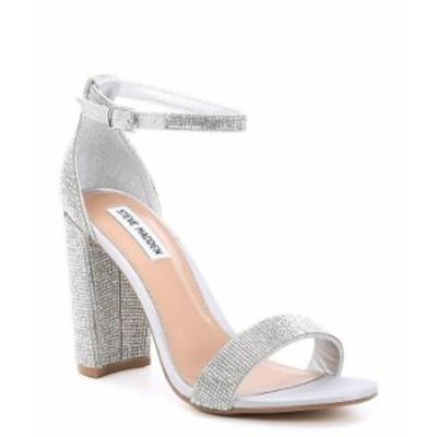 スティーブ マデン レディース サンダル シューズ Carrson Rhinestone Ankle Strap Block Heel Dress Sandals Crystal