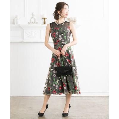 花柄総刺繍チュールワンピースドレス