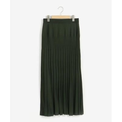 (le.coeur blanc/ルクールブラン)プリーツライク編みブライトニットマーメイドスカート/レディース L/グリーン