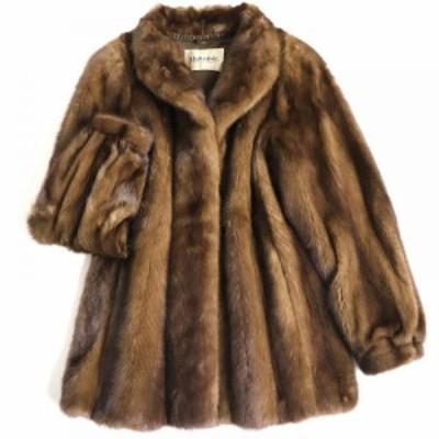 毛並み極美品▼Malvoisie MINK マルボワジー ミンク 本毛皮コート ダークブラウン 毛質艶やか・柔らか◎