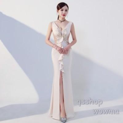 レディース パーティドレス セクシー 2019 ロングドレス 新品 細身 フォーマルウエア 演奏会 忘年会 宴会