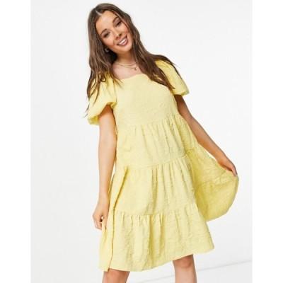 ピーシーズ レディース ワンピース トップス Pieces Mariah puff sleeve smock dress in yellow