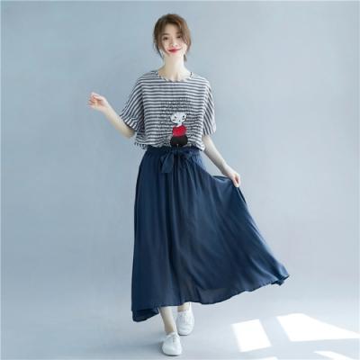 La Belleza素色鬆緊腰綁帶棉麻料不透光大擺長裙