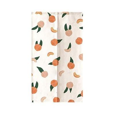 オレンジ Design のれん もも 果物 白 ピンク 背景 水彩 芸術 絵画 綿麻 リビングルーム ポーチ 洗面所 台所用 間仕切り カー