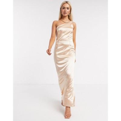 ティーエフエヌシー ミディドレス レディース TFNC Bridesmaid one shoulder satin maxi dress in champagne  エイソス ASOS sale