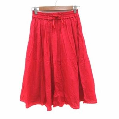 【中古】ディスコート Discoat ギャザースカート ミモレ ロング レースアップ L 赤 レッド /CT レディース