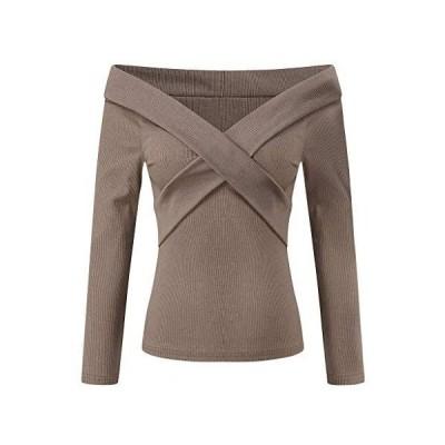 Women Sweater Fashion Casual Solid Soft Lightweight Crochet Pullover(Khaki,